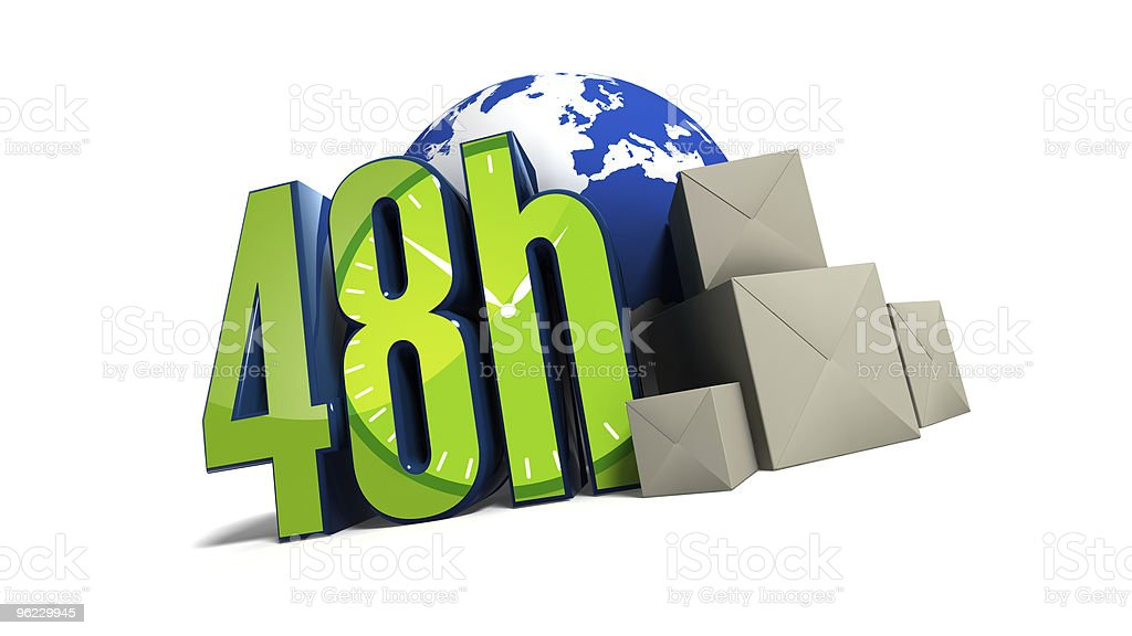 48h delivery all around the world royalty-free stock photo