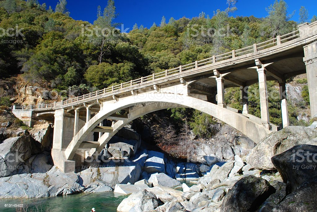 49er Bridge at South Yuba River stock photo