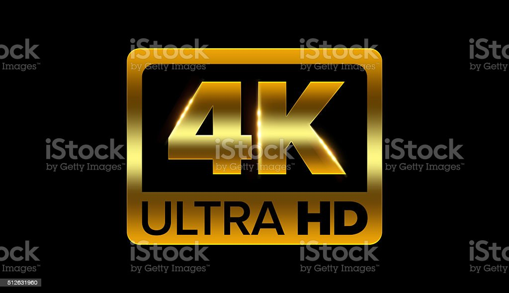 4k ultra hd icon stock photo