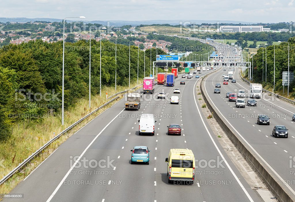 4-lane section of the M1 motorway, looking North stock photo