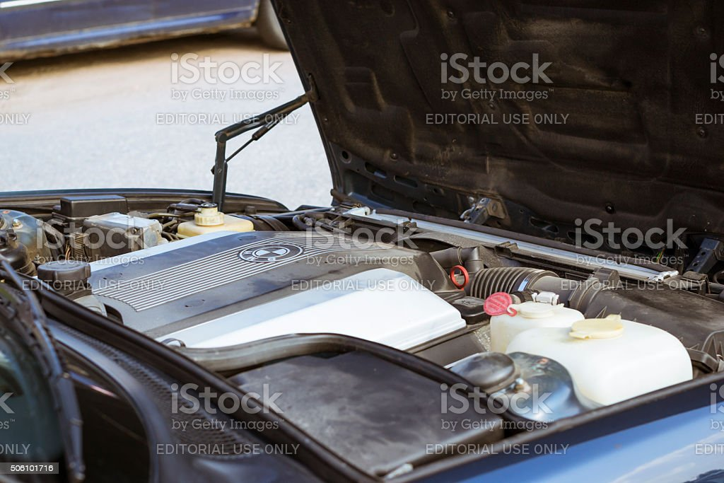 4-liter engine of the old-car BMW 540-series e34 stock photo