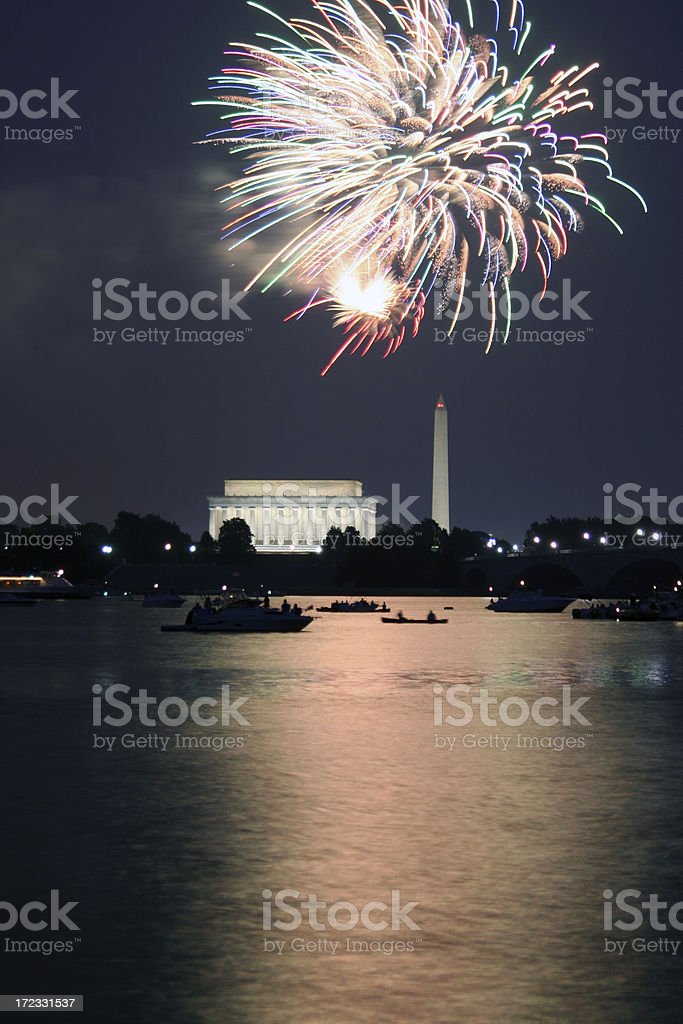 4th of July Fireworks at the National Mall royalty-free stock photo