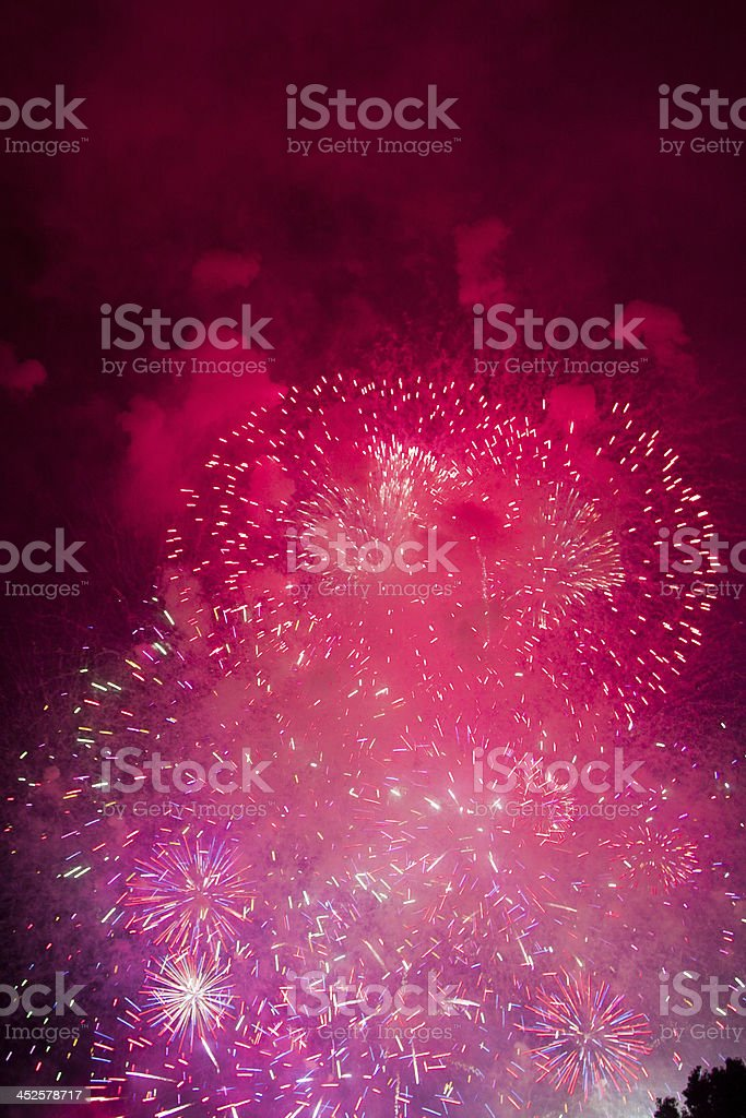 4Th of July fireworks celebration, Christmas and New Year stock photo