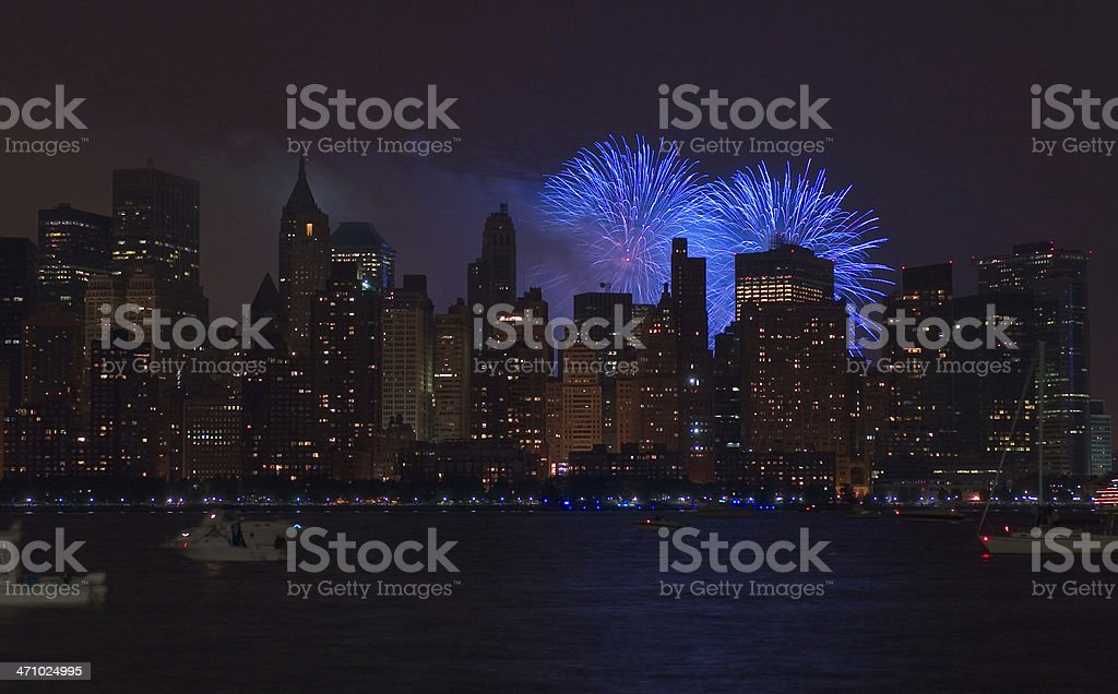4th of July fireworks in Manhattan royalty-free stock photo