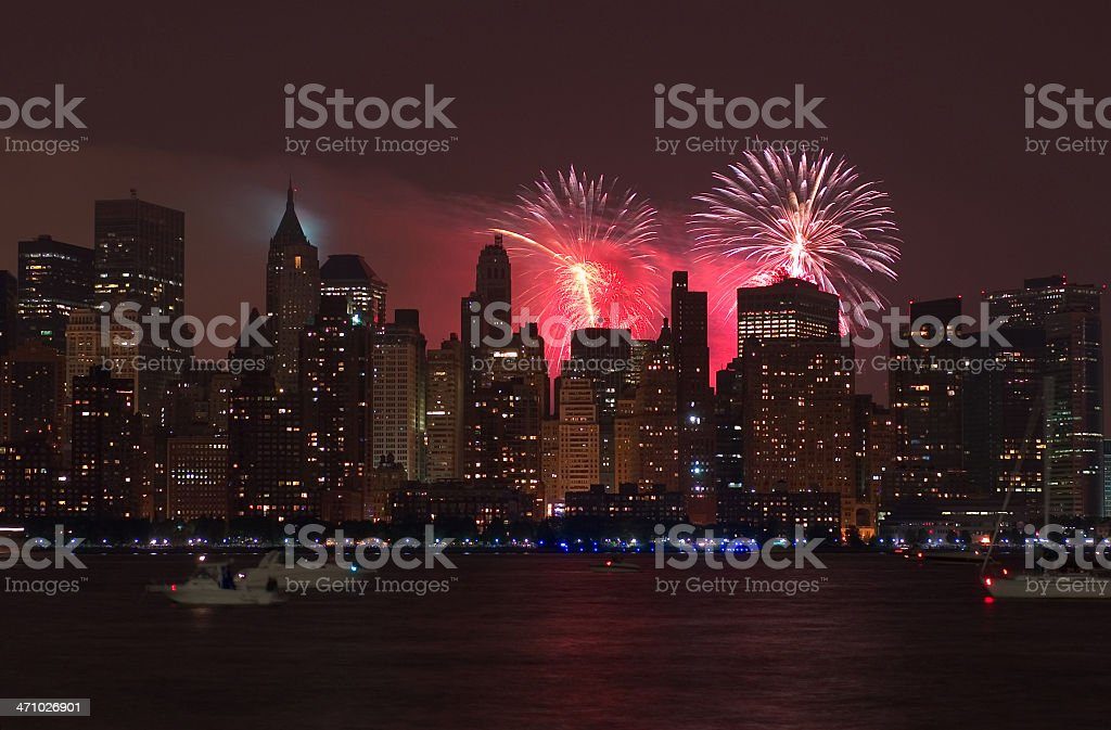 4th of July Frieworks in Manhattan royalty-free stock photo
