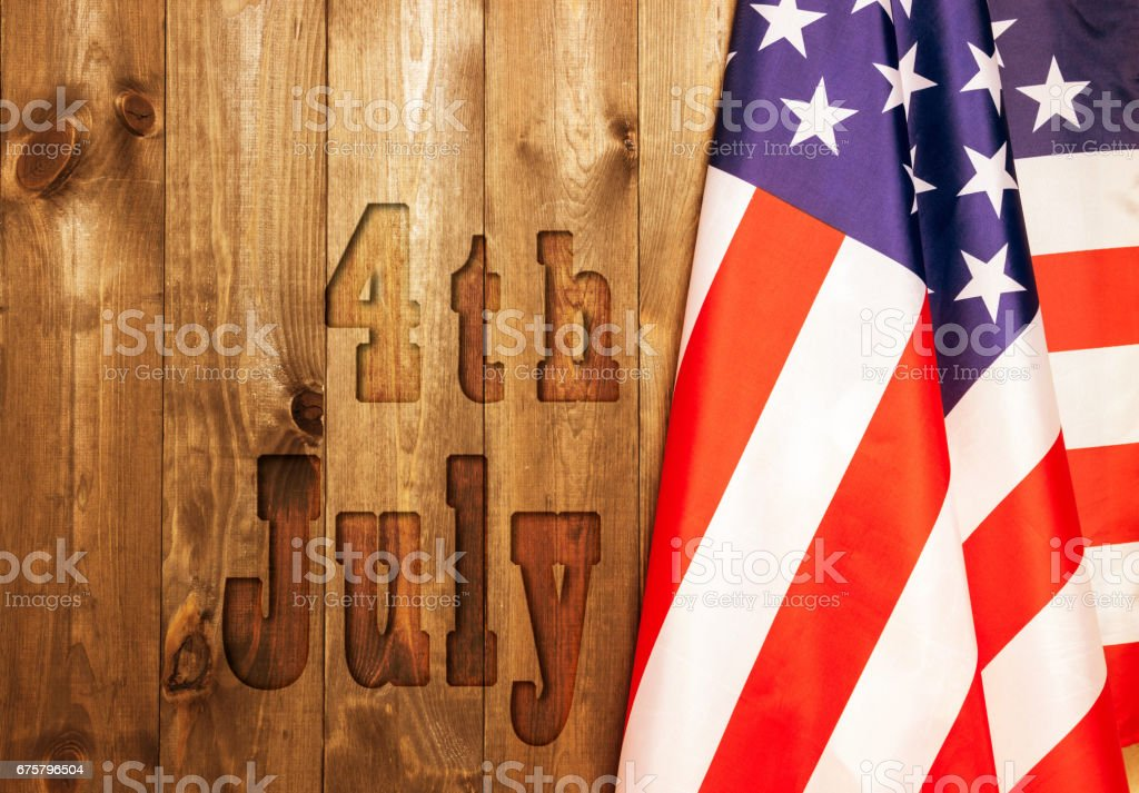 4th of July, the US Independence Day. American flag. stock photo