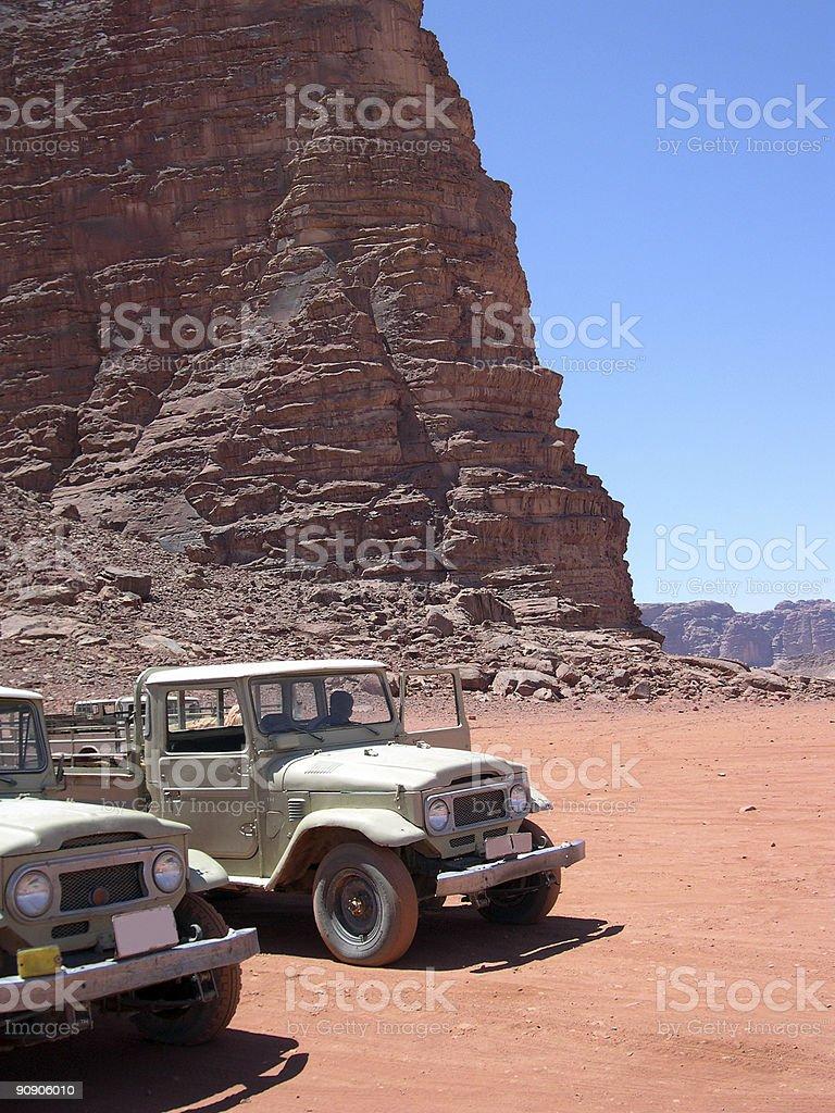 4wd's at jordania stock photo