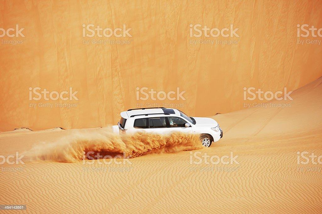 4x4 dune bashing is a popular sport of Arabian desert stock photo