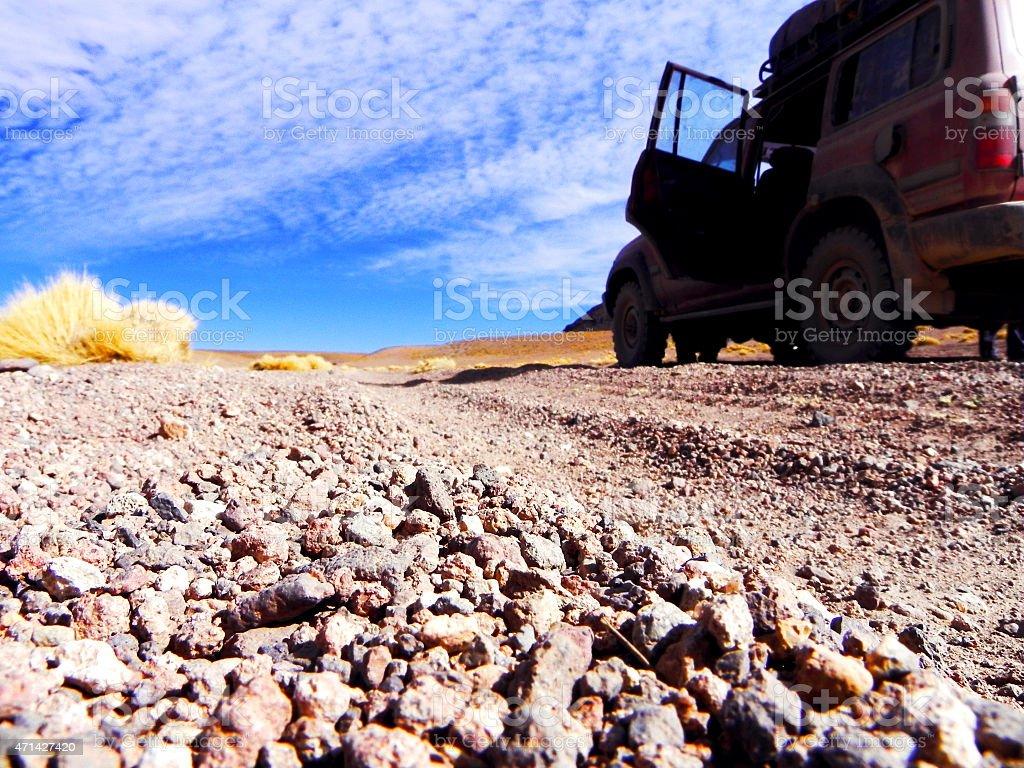 4x4 no Salar de Uyuni stock photo