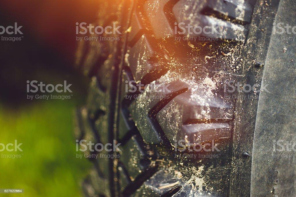 4x4 tire close-up stock photo