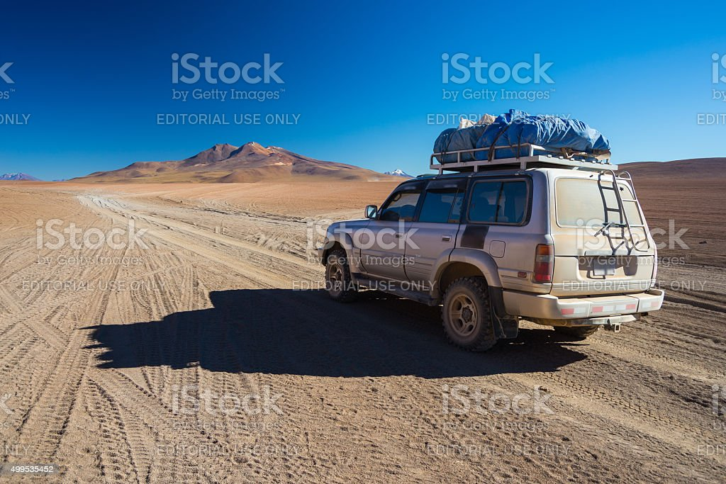 4x4 vehicle crossing the Andean Highlands, Bolivia stock photo