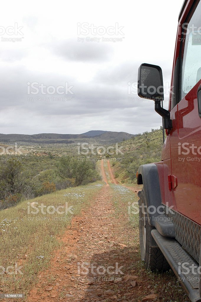 4x4 vehicle driving in the Flinders Ranges stock photo