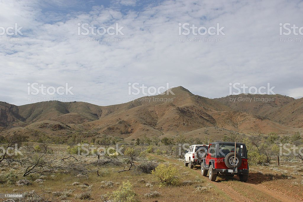 4x4 vehicles driving in the Flinders Ranges royalty-free stock photo