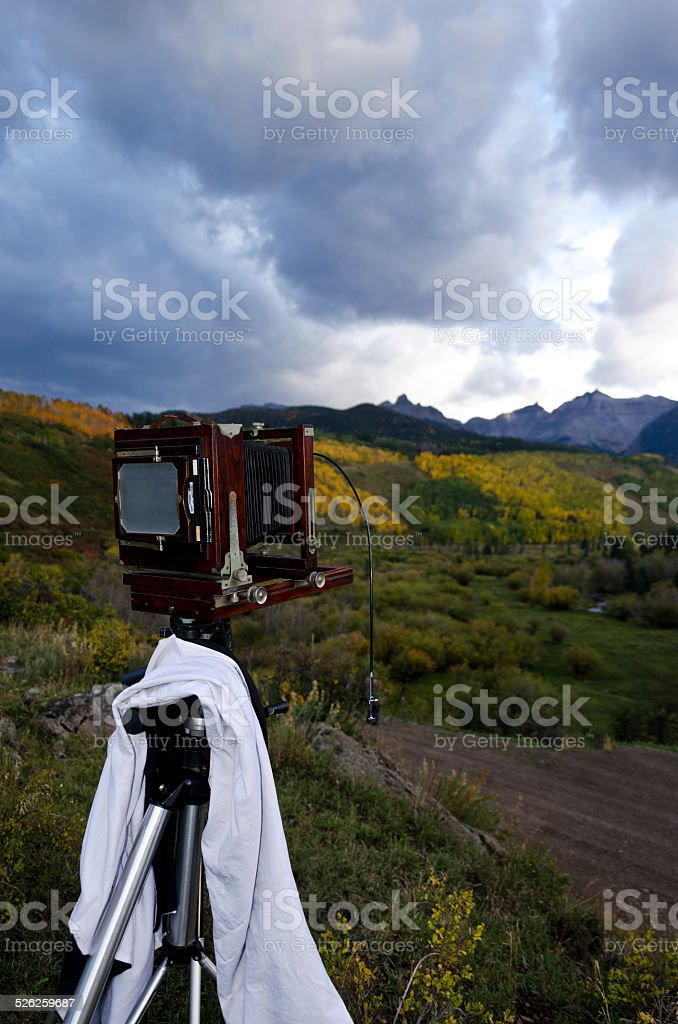 4x5 large format film old fashion camera fall colors stock photo