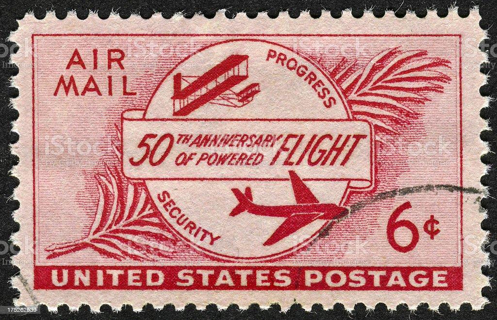 50th Anniversary Of Powered Flight Stamp stock photo