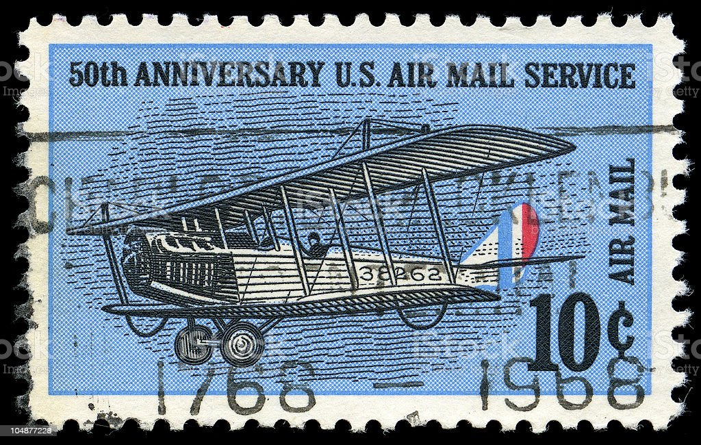 50th Anniversary US Air Mail Service - 10 Cent Stamp royalty-free stock photo