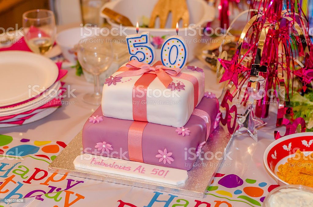 50th Birthday Cake stock photo