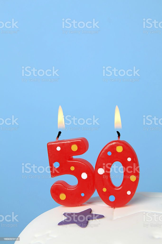 50th Birthday candles stock photo