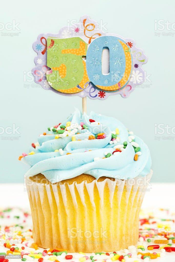 50th Birthday Cupcake stock photo
