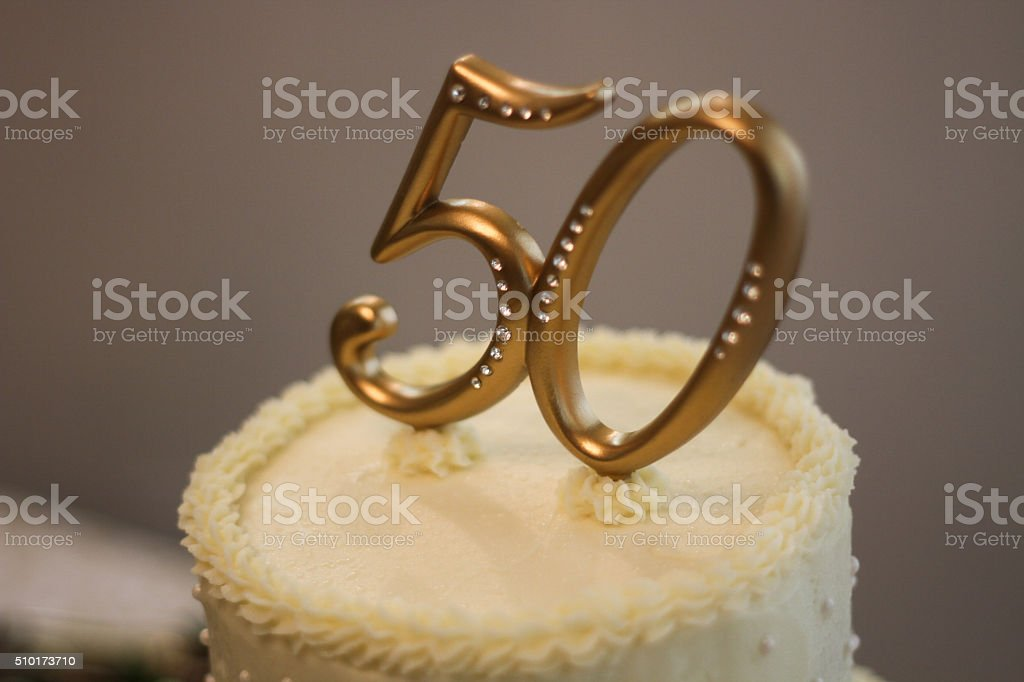 50th Wedding Anniversary Cake - Stock Image stock photo