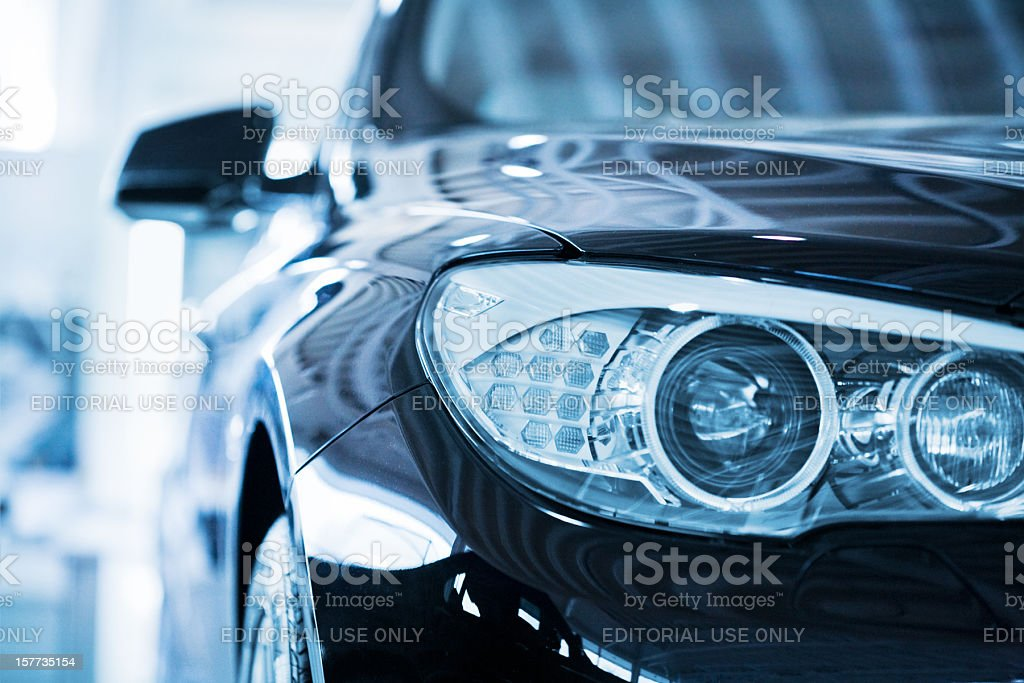 BMW 530d Car Head lights stock photo