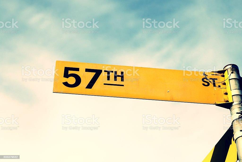 57th street Sign stock photo