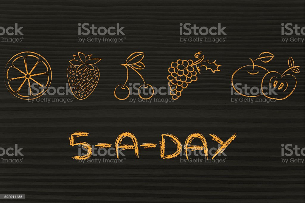 5-a-day fruit and vegetables stock photo