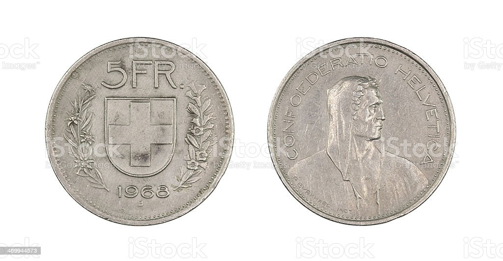 5-Franc-Coin, Switzerland, 1968 stock photo