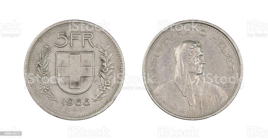 5-Franc-Coin, Switzerland, 1968 stock photo