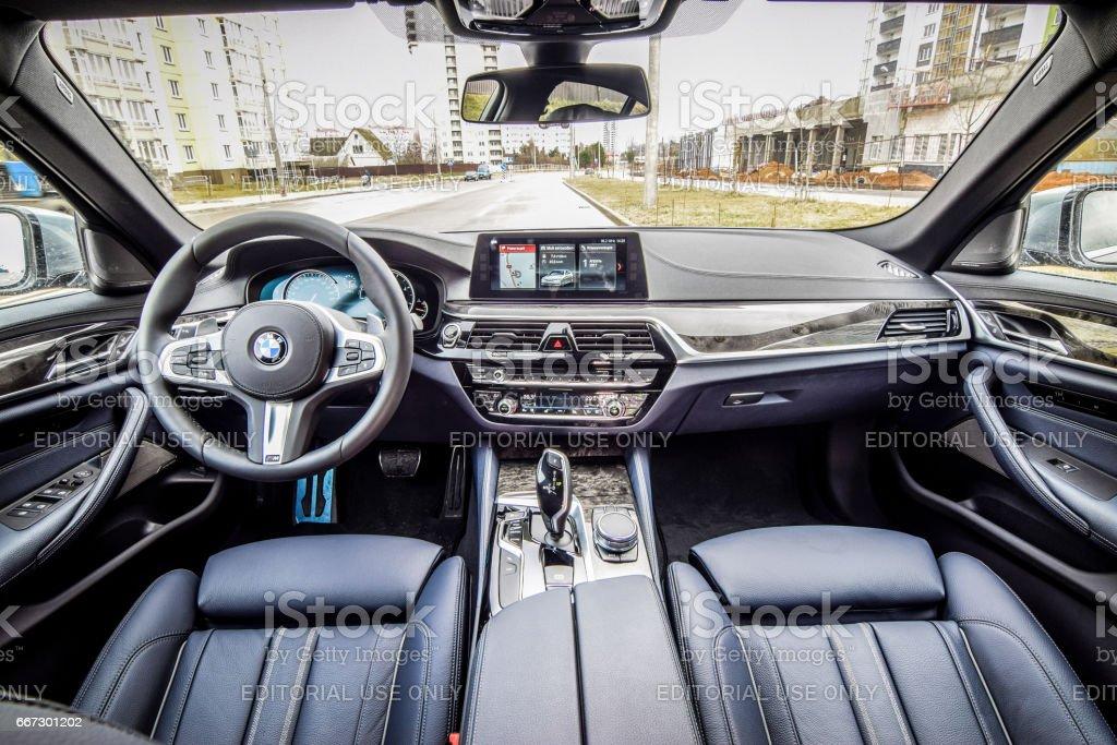 BMW 5-series (G30) interior stock photo