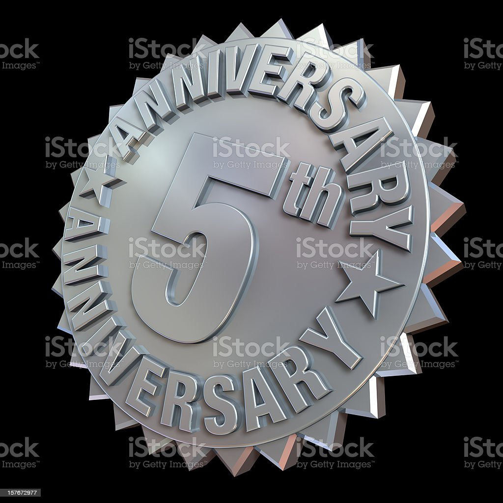 5Th anniverary medal stock photo
