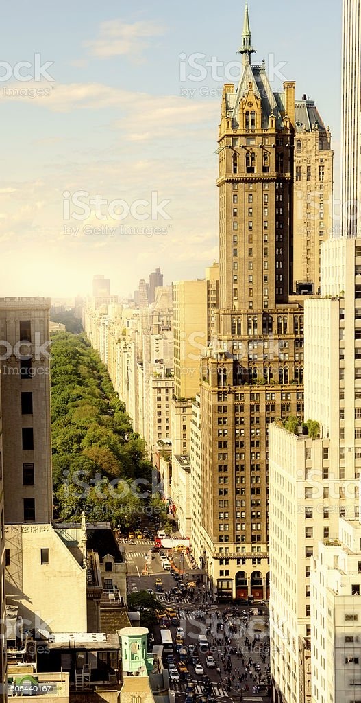 5th Ave and Central Park Aerial View, NYC. stock photo