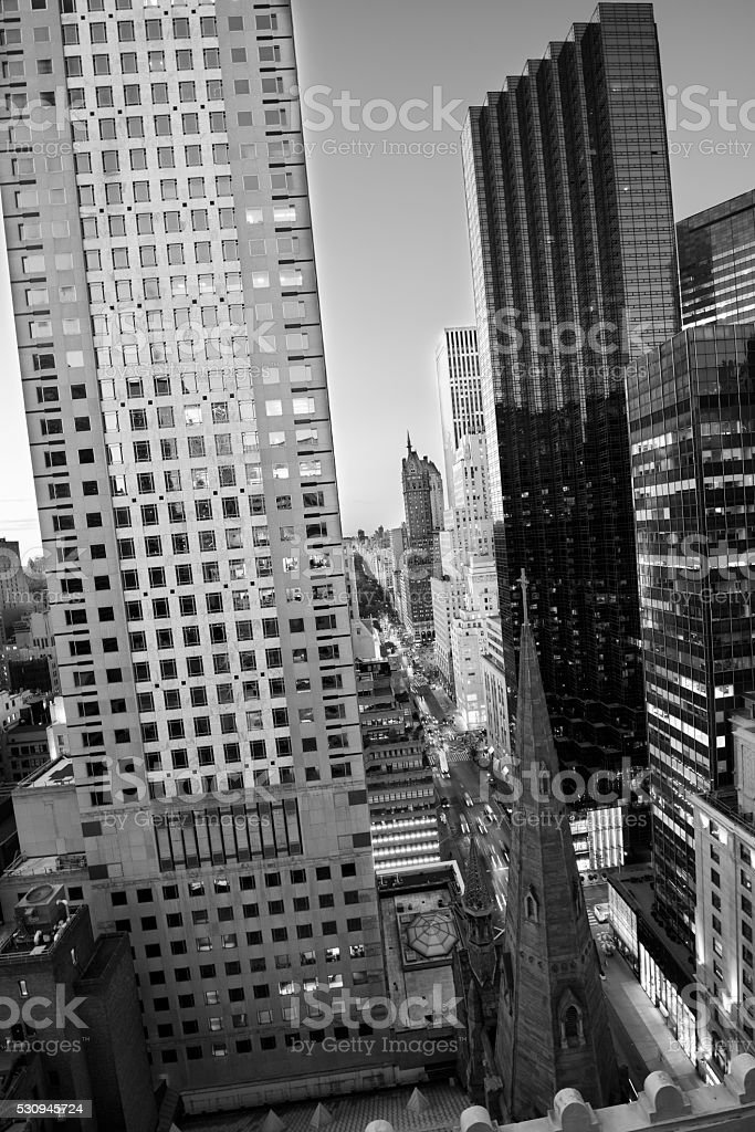 5th Avenue, NYC. Aerial View. Black And White. stock photo