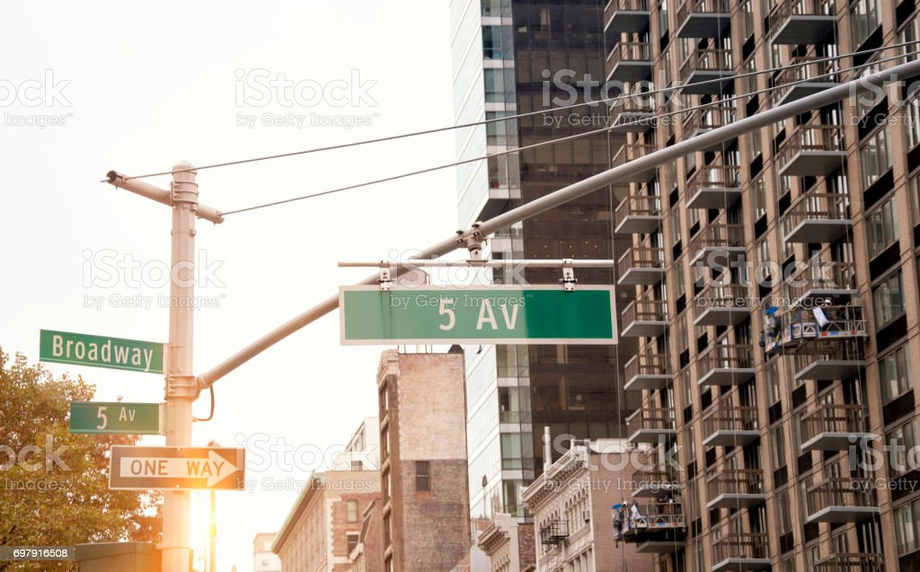 5th Avenue road sign, New York City stock photo