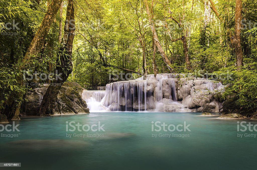 5th level of the Erawan Falls stock photo
