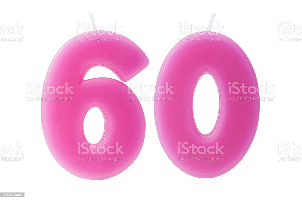 60th birthday candles isolated stock photo