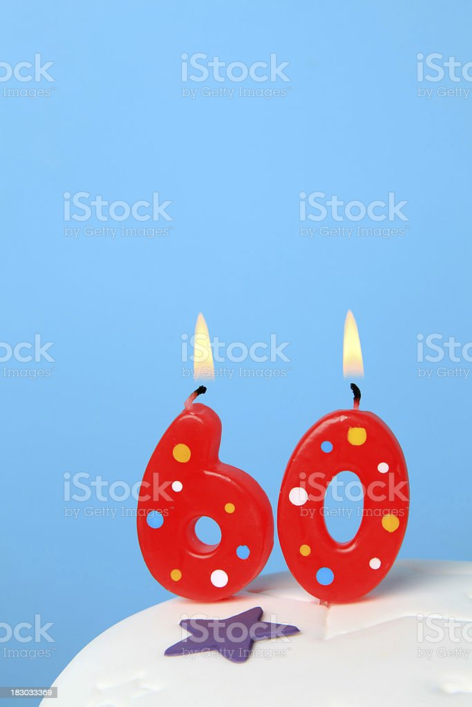 60th Birthday candles stock photo