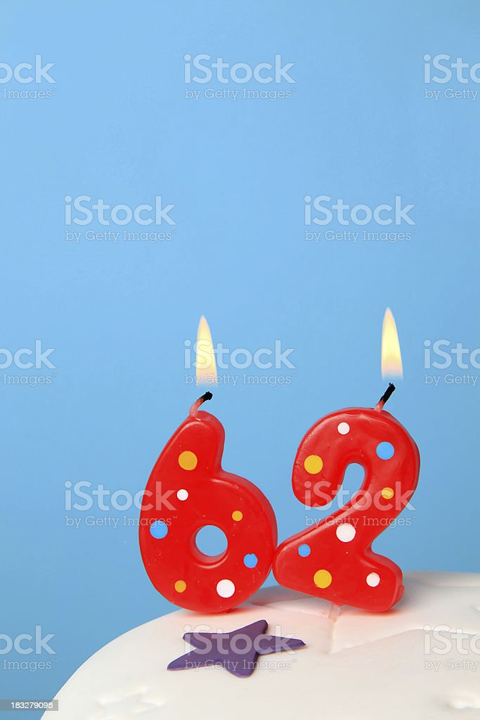 62nd Birthday candles royalty-free stock photo