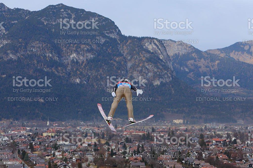 64th FOUR HILLS TOURNAMENT SKY JUMPING IN GARMISCH-PATENKIRCHEN stock photo