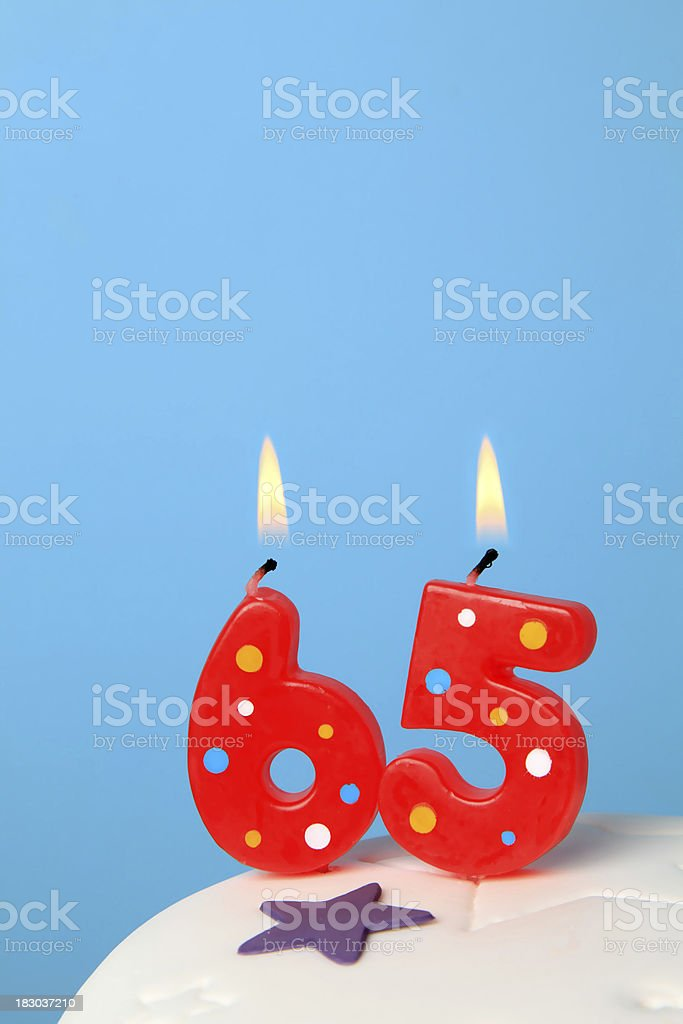 65th Birthday candles royalty-free stock photo
