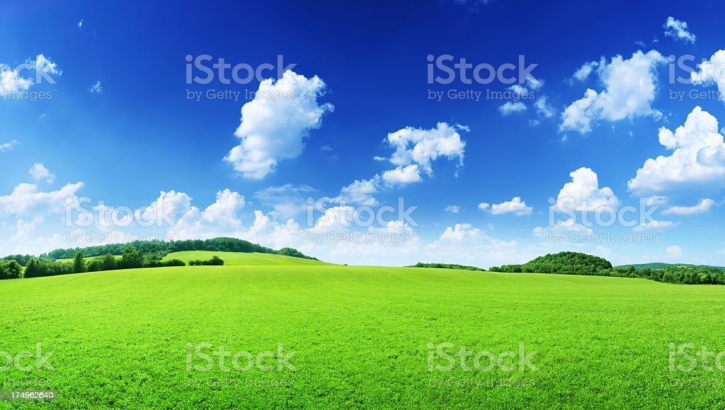 68Mpix Spring Hills - Green Grass Meadow Landscape royalty-free stock photo