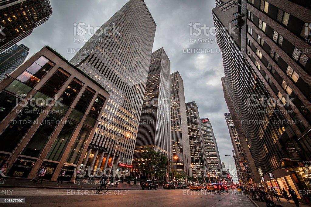6th avenue at rainy evening stock photo