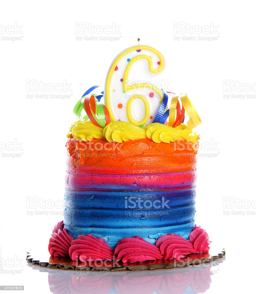 6th Birthday Cake royalty-free stock photo