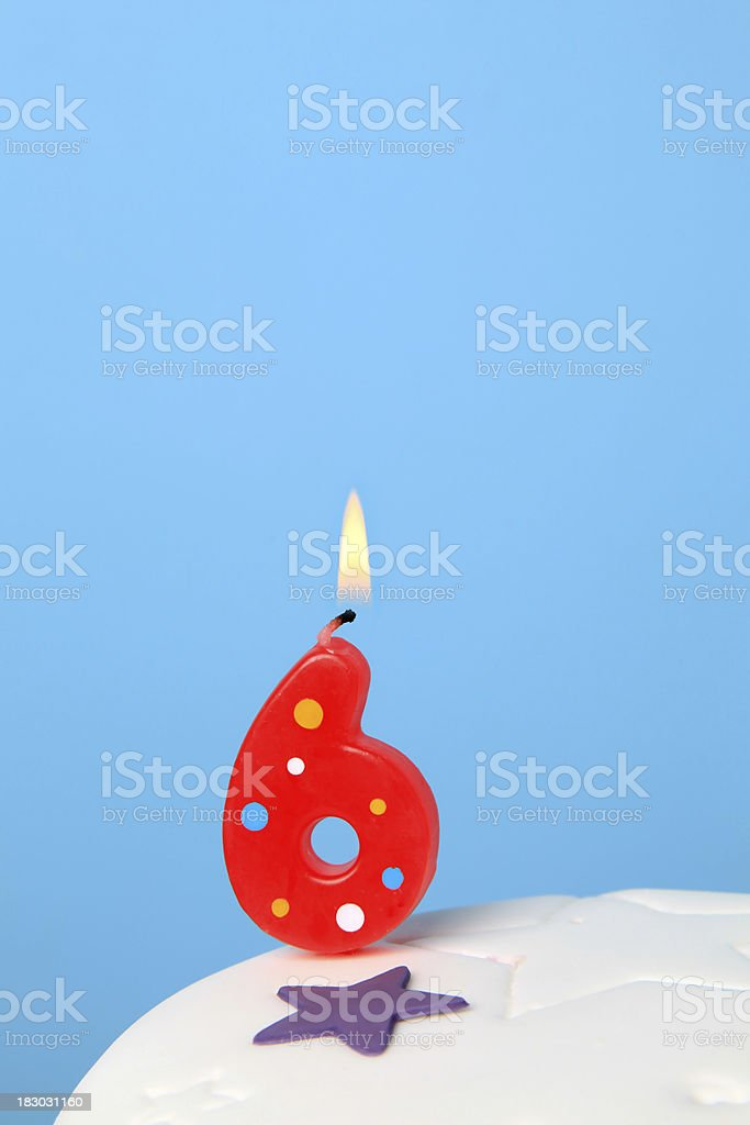 6th Birthday candle royalty-free stock photo