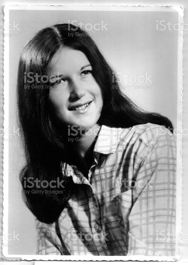 70s young woman portrait stock photo