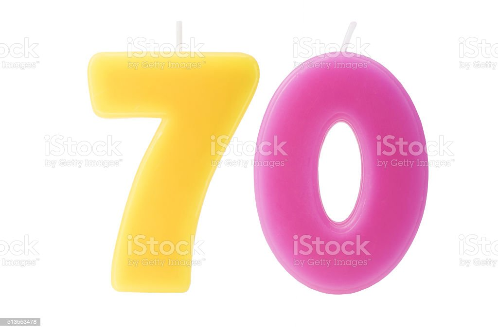 70th birthday candles isolated stock photo