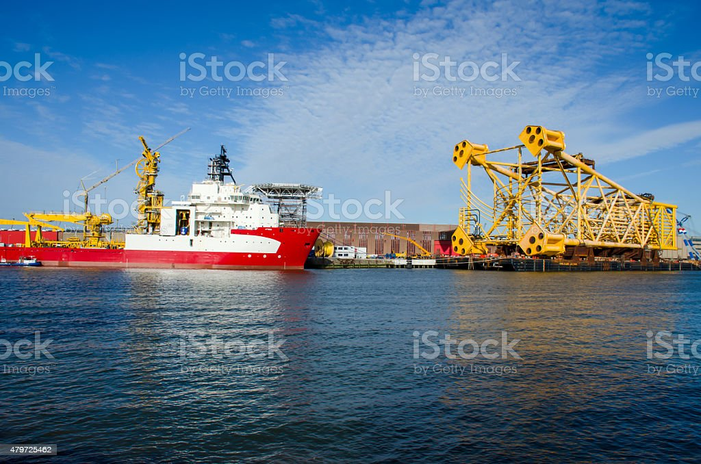 7400t steel jacket prepared to be shipped for installation, stock photo