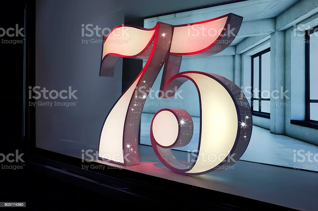 75th anniversary numbers as an installation stock photo