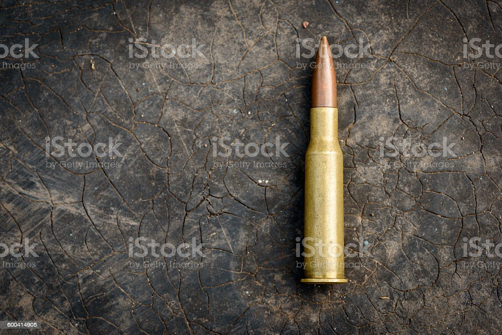 7.62mm Bullet on Copy Space Background stock photo