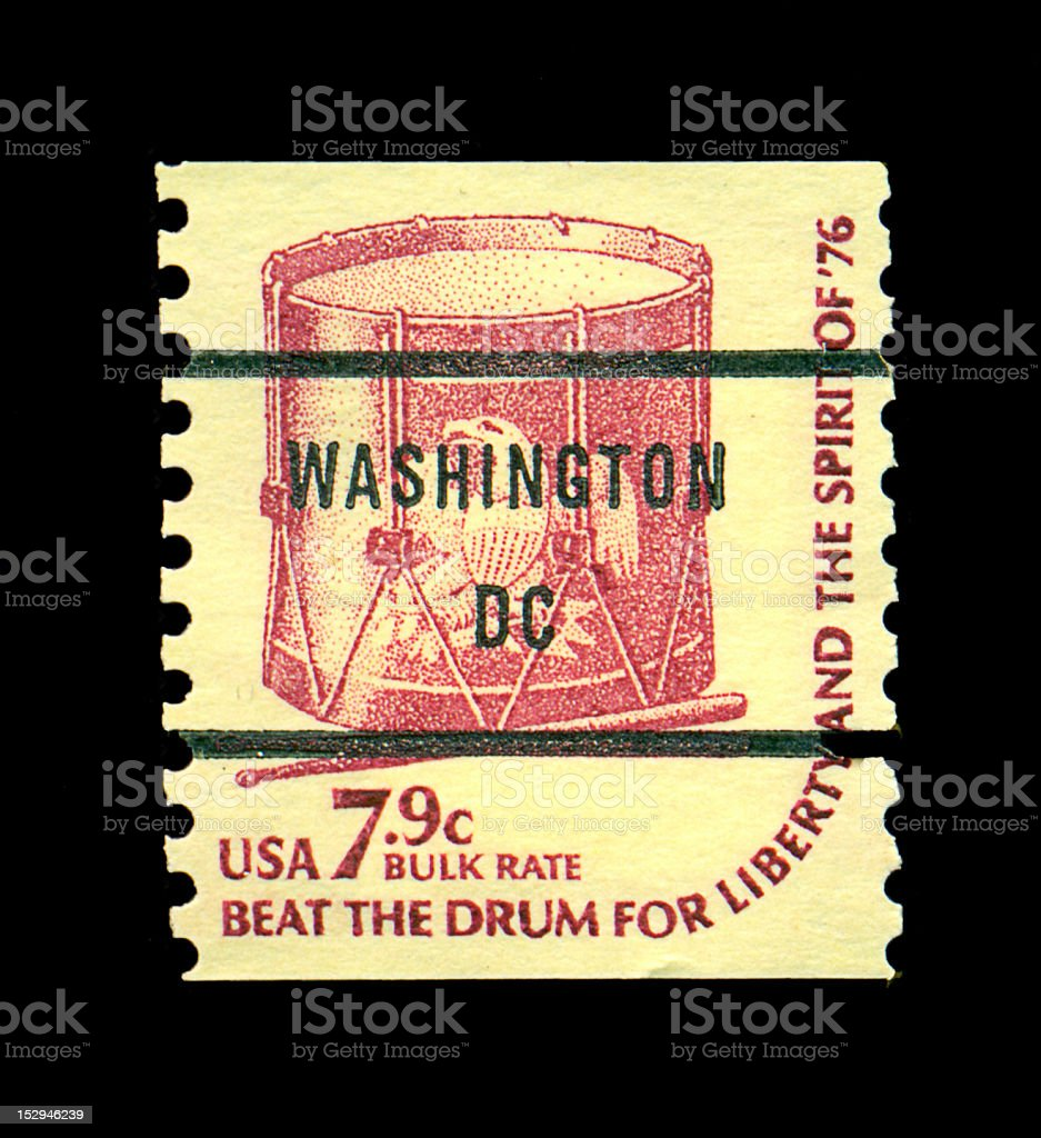 7.9-cent Drum Postage Stamp royalty-free stock photo